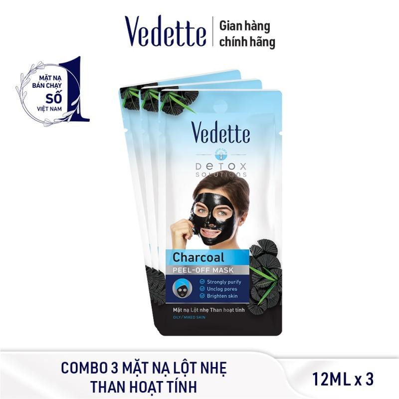 Combo 3 Mặt Nạ Lột Nhẹ Than Hoạt Tính Vedette 12ml x 3 giá rẻ