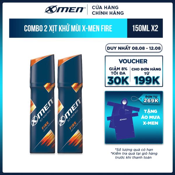 Combo 2 Xịt khử mùi X-Men Fire 150ml nhập khẩu