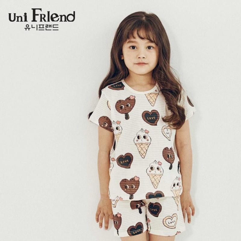 Nơi bán Đồ bộ mặc nhà bé gái Unifriend thun ngắn hoạ tiết que kem U9SSTS11
