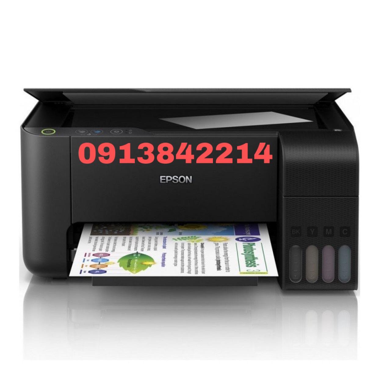 Máy in màu Epson L3110 đi kèm 4 bình mực dầu pigment UV không phai