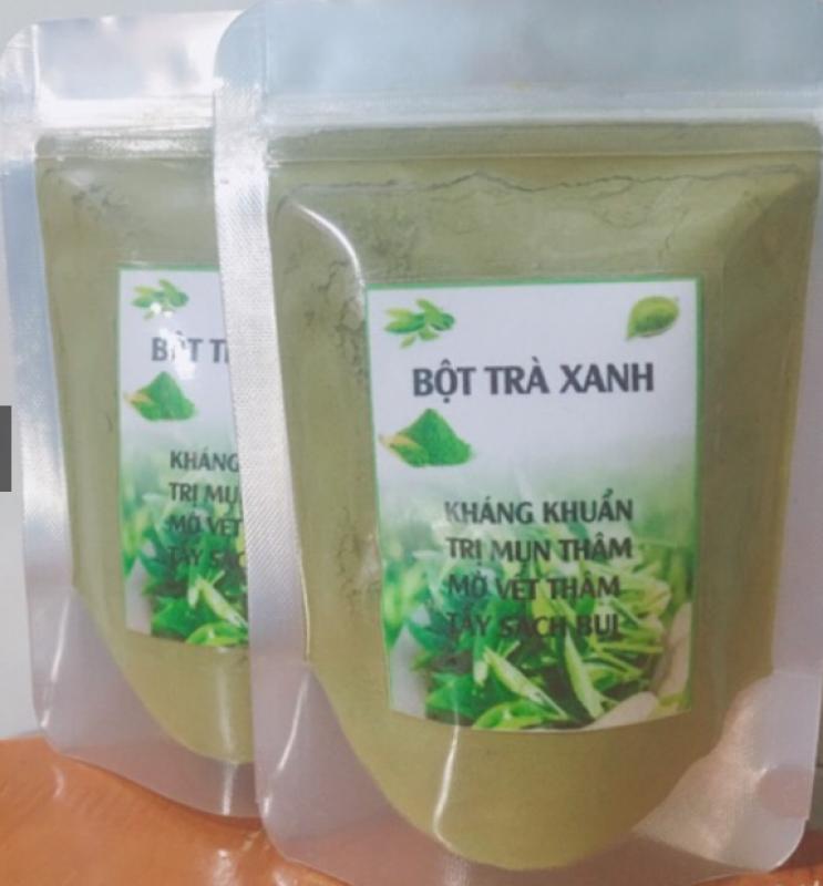100g Bột trà xanh đắp mặt Giảm mụn mờ vết thâm