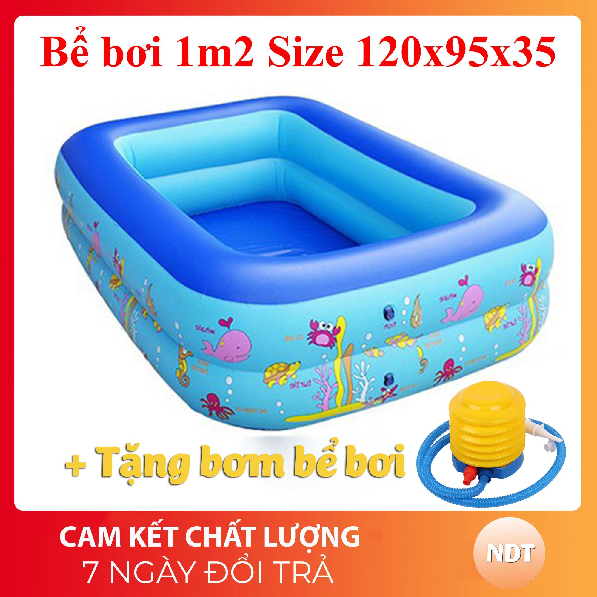 [Tặng Bơm + keo vá bể] Bể bơi phao 2 tầng hình chữ nhật Size 120x95x35 cho bé - Hồ bơi cho trẻ 1,2m + Bơm bể bơi Nhật Bản