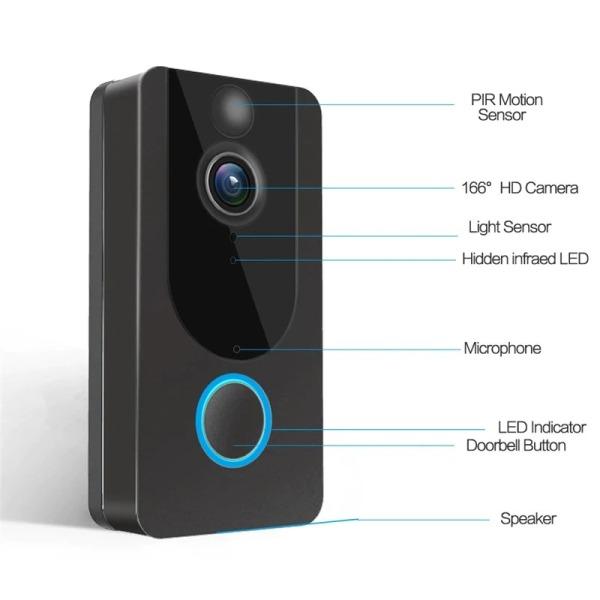 Chuông bấm không dây, Chuông cửa không dây chống nước, Chuông cửa không dây thông minh có Camera wifi EKEN V7 cao cấp với công nghệ đàm thoại 2 chiều, pin siêu khủng, sử dụng mạng 2-4G, wifi, chống nước IP66. BẢO HÀNH UY TÍN