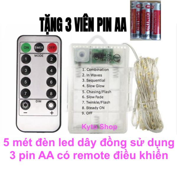 5m Đèn led dây đồng chớp nháy có Remote điều khiển sử dụng 3 pin AA, Đèn đom đóm Fairy Light dùng trang trí giáng sinh