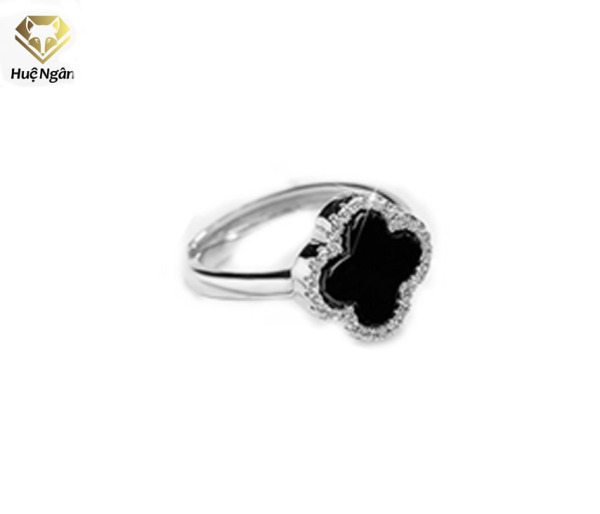 Nhẫn nữ trang sức bạc Ý 925 Huệ Ngân - cỏ bốn lá may mắn RR1549