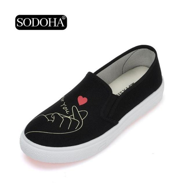 Giày Lười Vải Nữ Siêu Dễ Thương SODOHA SDH508B Màu Đen giá rẻ