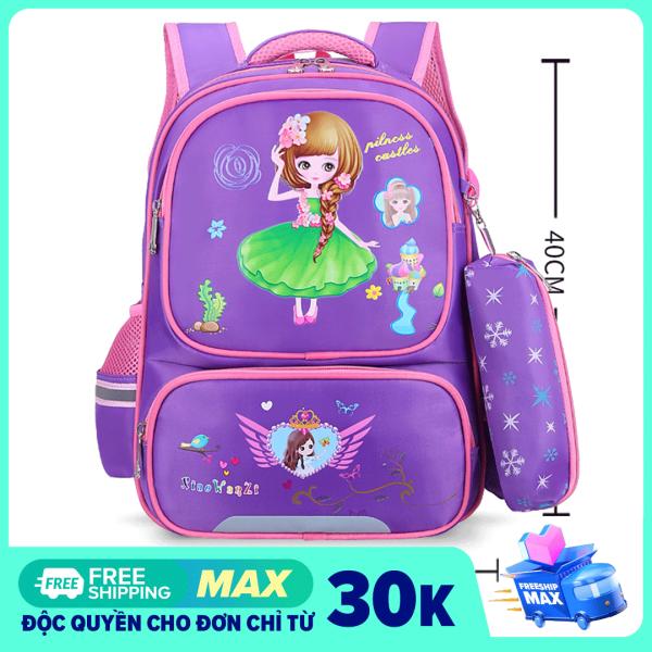 [2 màu TÍM- HỒNG + túi đựng bút- Dành cho bé lớp 1 đến lớp 4] Balo đi học cho bé gái tiểu học, cặp sách chống thấm nước cho học sinh cấp 1