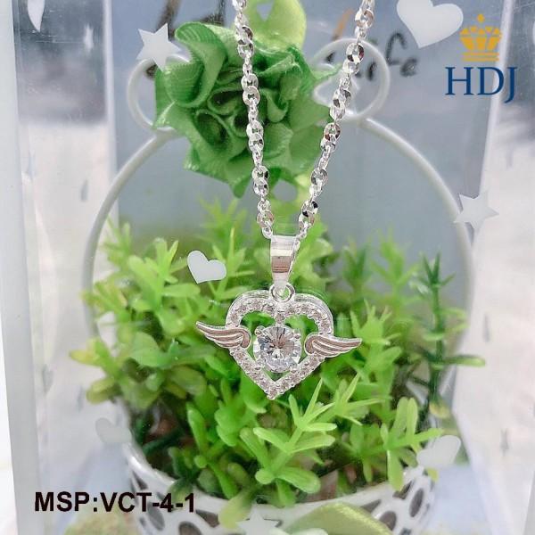 Dây chuyền nữ bạc 925 hình đôi cánh thiên thân đính đá đẹp sang trọng trang sức cao cấp HDJ mã VCT-4-1