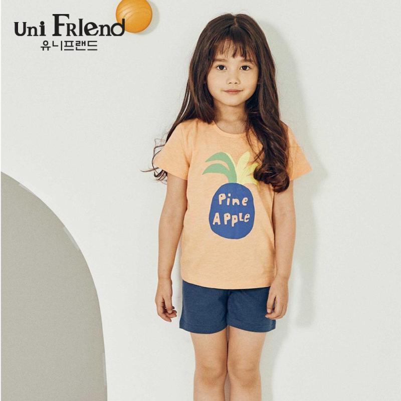 Nơi bán Đồ bộ mặc nhà bé gái Unifriend thun lửng hoạ tiết trái thơm U9SSTS06