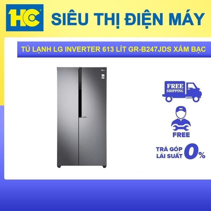 Tủ lạnh LG Inverter 613 lít GR-B247JDS Bạc