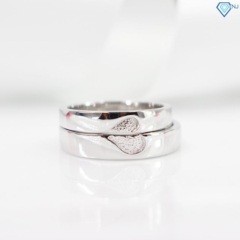 Nhẫn đôi bạc trái tim ghép khắc tên ND0293 - Trang Sức TNJ