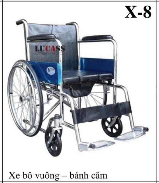 Xe lăn có bô LUCASS X8 – Xe gắn 2 vòng lăn giúp người sử dụng có thể tự di chuyển – khung hợp kim mạ crom, chỗ ngồi và tựa bằng da simili – CAM KẾT HÀNG CHÍNH HÃNG – BH 6TH