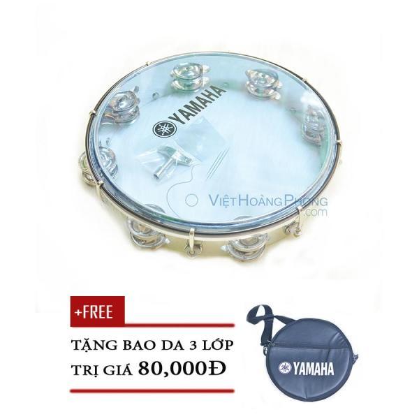 Trống lắc tay - trống gõ bo - Tambourine Yamaha MT6-102B (Xanh Trong) + Bao da 3 lớp - Việt Hoàng Phong