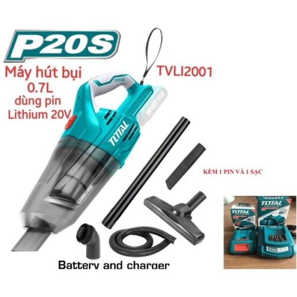 Máy hút bụi dùng pin Lithium 20V TOTAL TVLI2001 KÈM 1 PIN VÀ 1 SẠC