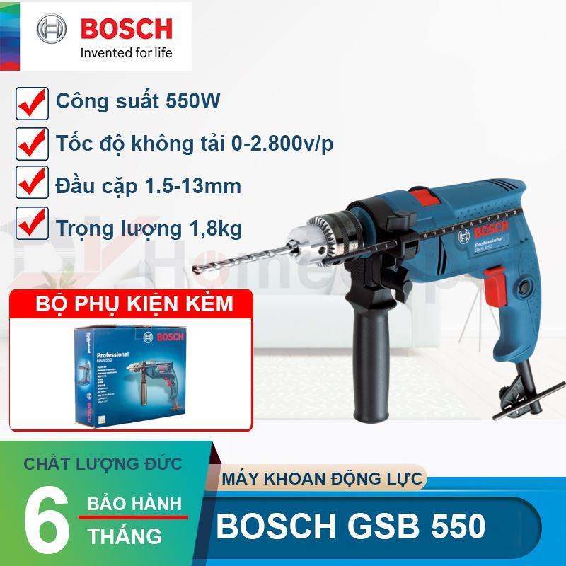 Máy khoan động lực 550W  Bosch GSB 550 + Tặng 3 mũi khoan 6/8/10mm