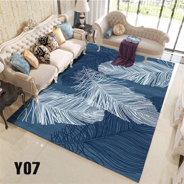 Thảm Bali họa tiết lông vũ xanh Y07