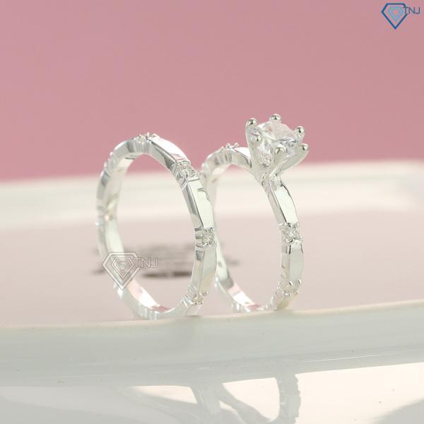 Nhẫn cặp tình bạn bạc thật đính đá khắc tên ND0229 - Trang Sức TNJ