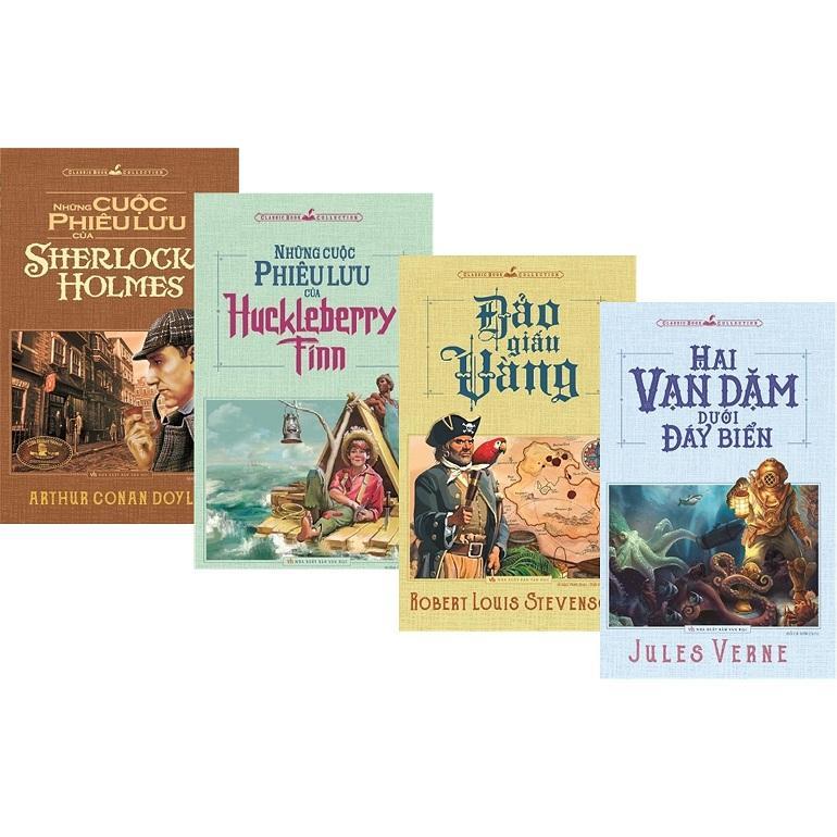 Mua combo 4 cuốn - Đảo giấu vàng +Những cuộc phiêu lưu của Sherlock Holmes + Hai vạn dặm dưới đáy biển + Những cuộc phiêu lưu của Huckleberry Finn