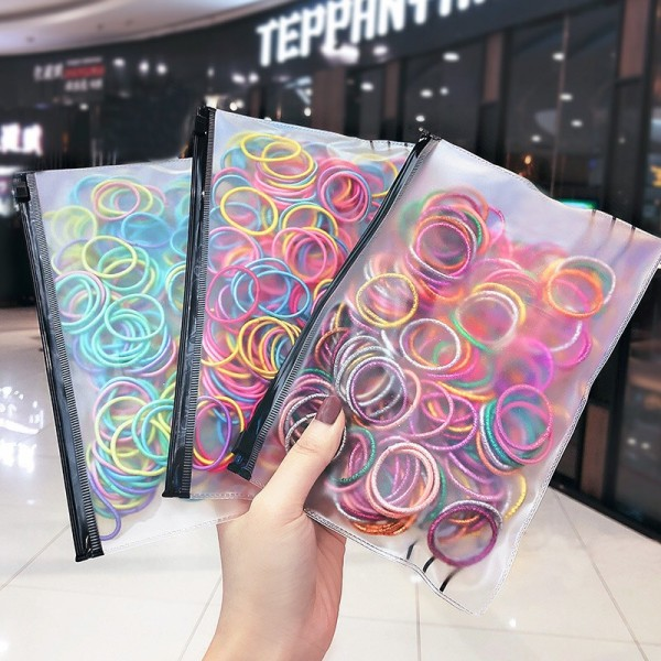Giá bán [Lấy mã giảm thêm 30%]Set 100 Chun Thun Buộc Tóc Nhiều Màu Phong Cách Hàn Quốc Cho Bé Gái D21