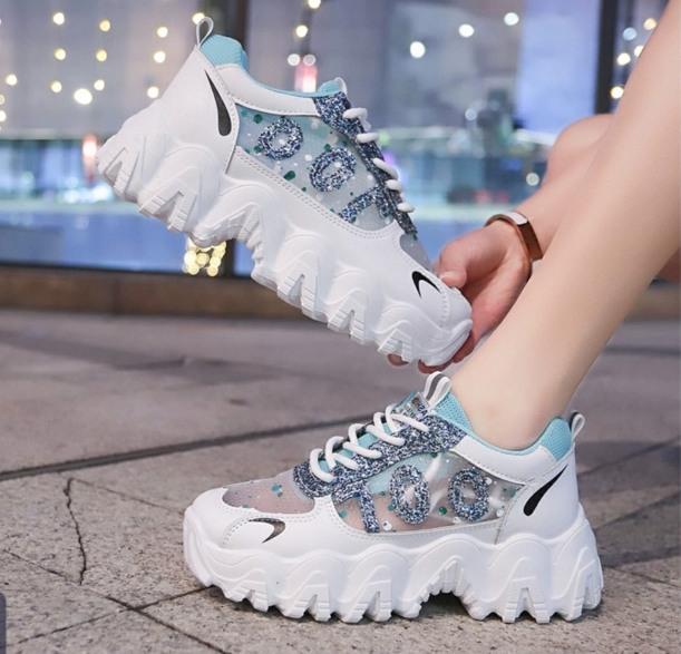 Giày thể thao , giày sneaker nữ độn đế 5cm nhũ lấp lánh phối lưới đế sóng hàng cao cấp cực đẹp và êm chân giá rẻ
