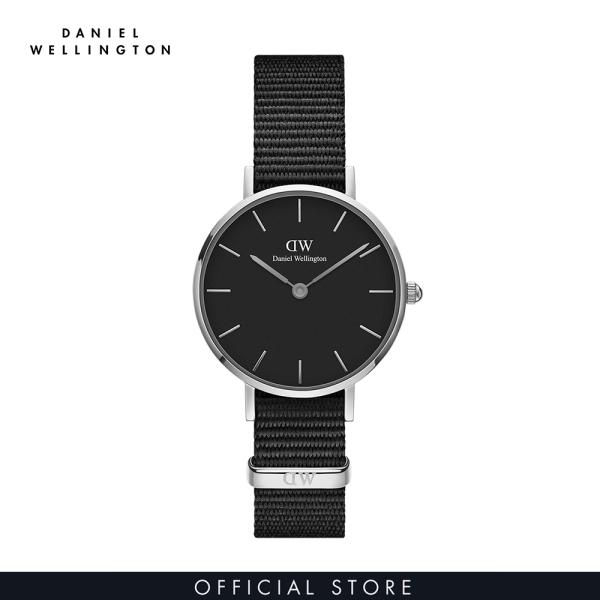 Đồng hồ Nữ Daniel Wellington dây vải nato - Petite Cornwall mặt đen - vỏ bạc