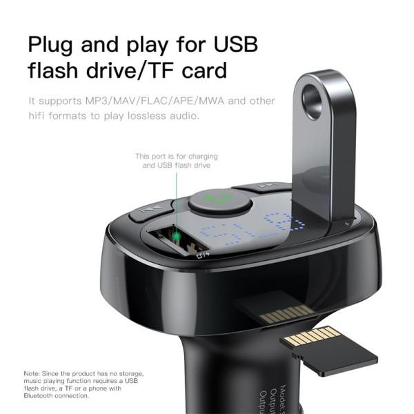 Bộ thu phát Bluetooth MP3 kiêm .t.ẩ.u. sạc nhanh cho Xe hơi ôtô Baseus T-Typed Wireless MP3 Car Charger Hàng chính hãng