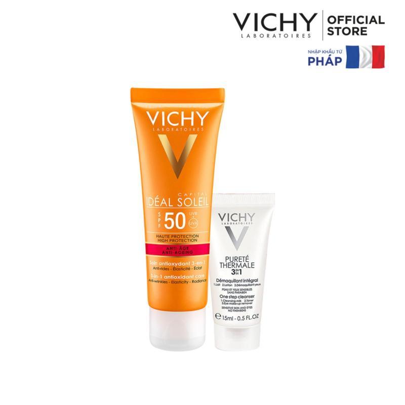 Kem chống nắng bảo vệ và giúp giảm các dấu hiệu lão hóa Ideal Soleil Anti-Age SPF50 50ml + Tặng Sữa rửa mặt tẩy trang 3in1 15ml
