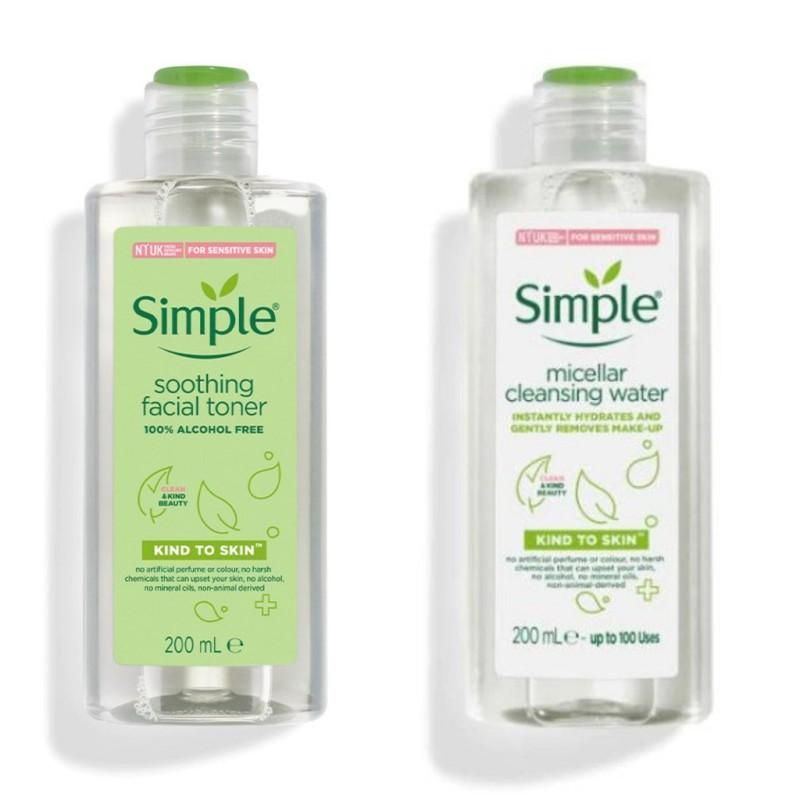 Combo 2 Sản Phẩm Simple (Nước Tẩy Trang Simple 200ml Và Nước Hoa Hồng Simple 200ml) giá rẻ