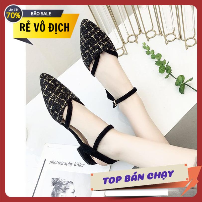 Giày nữ sandal chất dạ quai hậu sang trọng giày quai hậu giày nữ giày saldan nữ giày nữ công sở giá rẻ