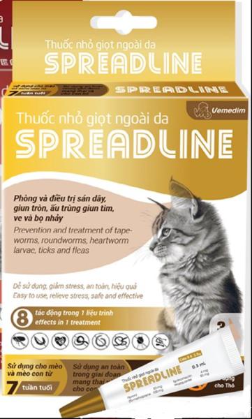 Nhỏ vai gày, phòng trị sán  dây, giun tròn, ấu trùng  giun tim, ghẻ tai, ve và  bọ chét (bọ nhảy) cho các bé mèo, SPREADLINE, hộp 3 tuýp 0.3 mml/tuýp, 1 tuýp cho bé mèo 0.8-2.5 kg