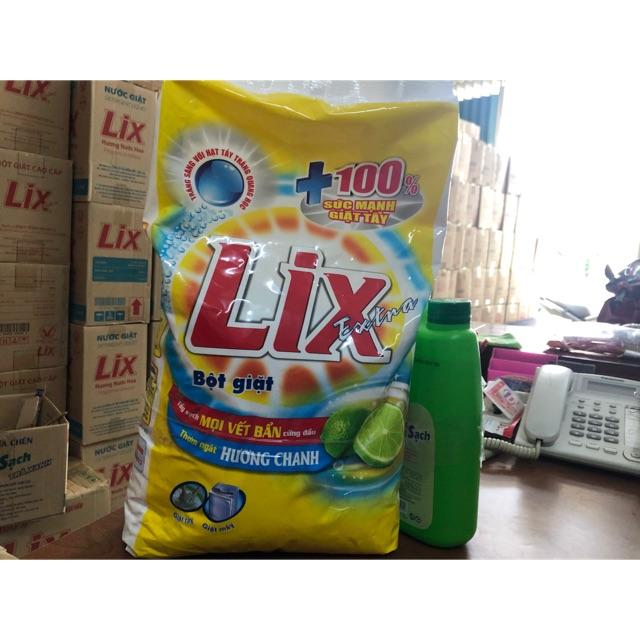 Deal Khuyến Mãi Bột Giặt Lix Extra Chanh 6 Kg- Tặng Kèm Nước Rửa Chén Siêu Sạch 1,5 Kg