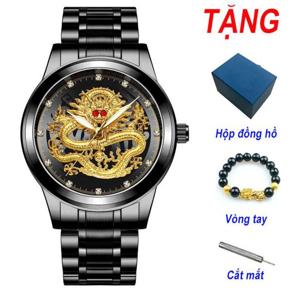 [HCM]Đồng Hồ Nam FNGEEN Mặt Rồng Vàng - Đồng Hồ Nam Dây Thép Đen Không Gỉ - Tặng Kèm Vòng Tay bán chạy