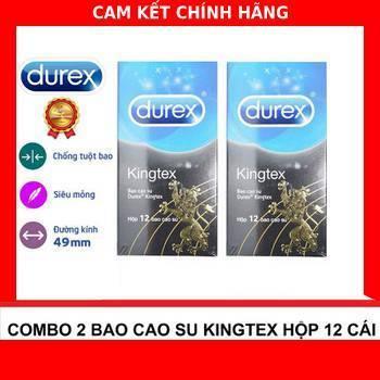 Bộ 2 Hộp Bao Cao Su Size Nhỏ 49mm ôm Khít Durex Kingtex Thái 12c (Thái Lan)