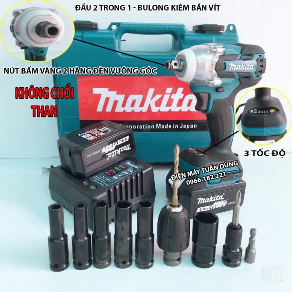 Máy bắn vít tôn bulong dùng pin Makita 199V Lực siết 500Nm BỘ SẢN PHẨM 2 PIN TẶNG BỘ PHỤ KIỆN 10N + MŨI KHOAN 5 + 5 KD