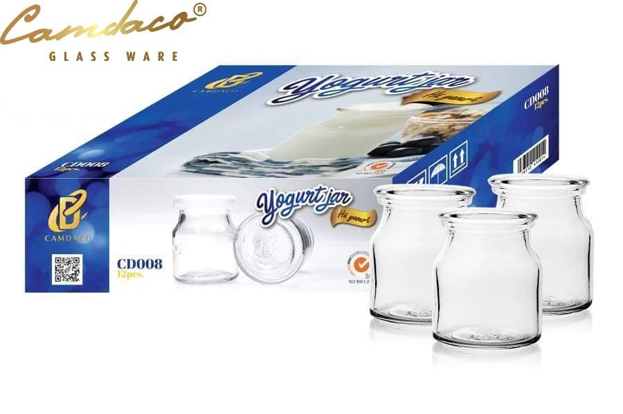 Offer Ưu Đãi Hộp 12 Hũ Thủy Tinh Chịu Nhiệt, Chịu Lực Tốt Làm Sữa Chua 100ml CAMDACO GLASS WARE
