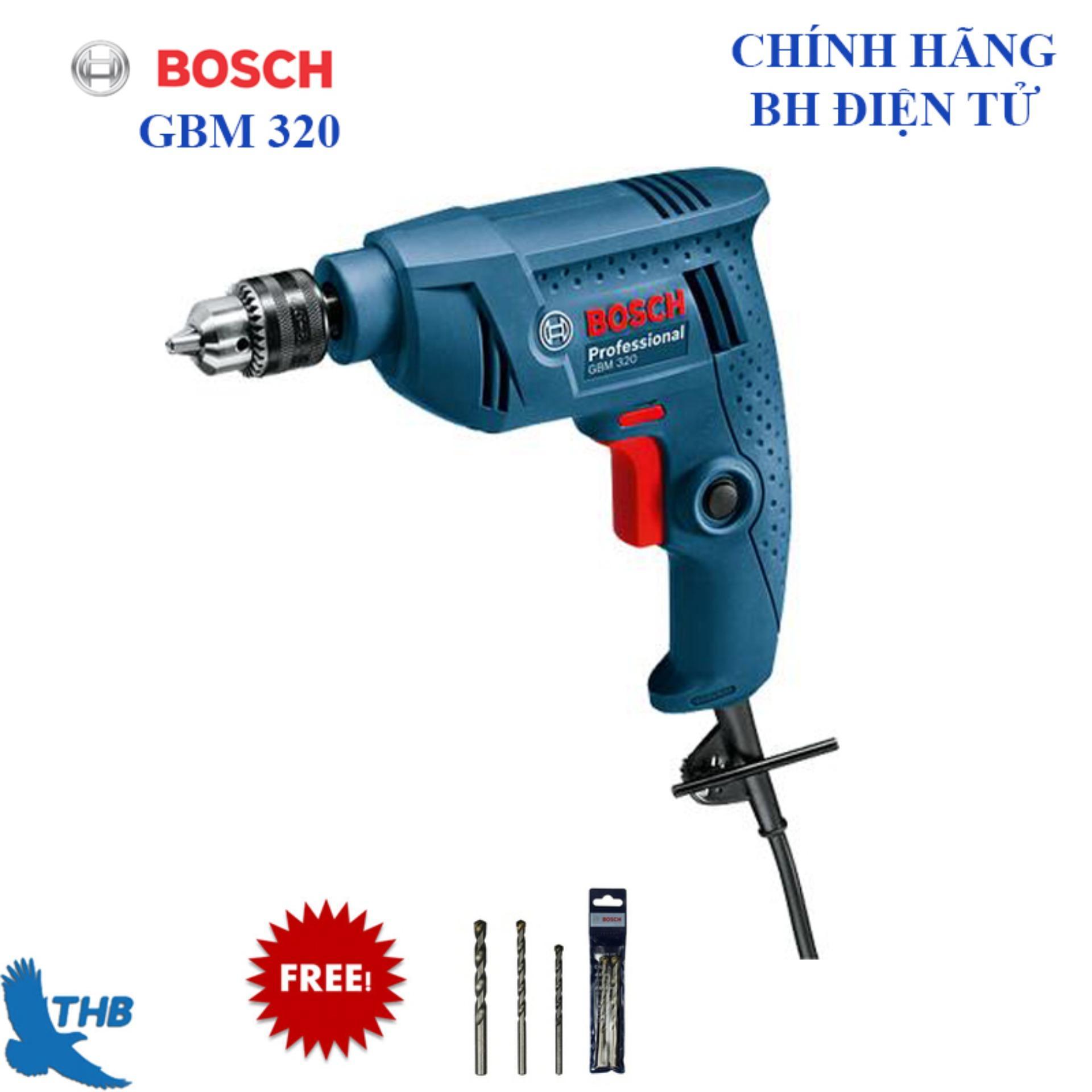 Máy khoan cầm tay, Máy khoan tay, Máy khoan điện,  Máy khoan Bosch chính hãng GBM 320 Tặng 3 mũi khoan HSS 4, 6,8 ( Công suất 320W, Mũi khoan gỗ tối đa M13, Bảo hành điện tử 6 tháng)