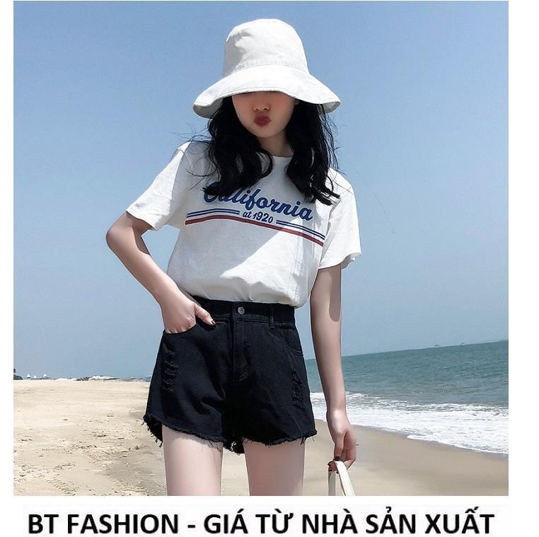 Quần Đùi Sọt Nữ Kaki  Coton Co Dãn Thời Trang Hàn Quốc Mới - BT Fashion (Tua Lai - Đen)
