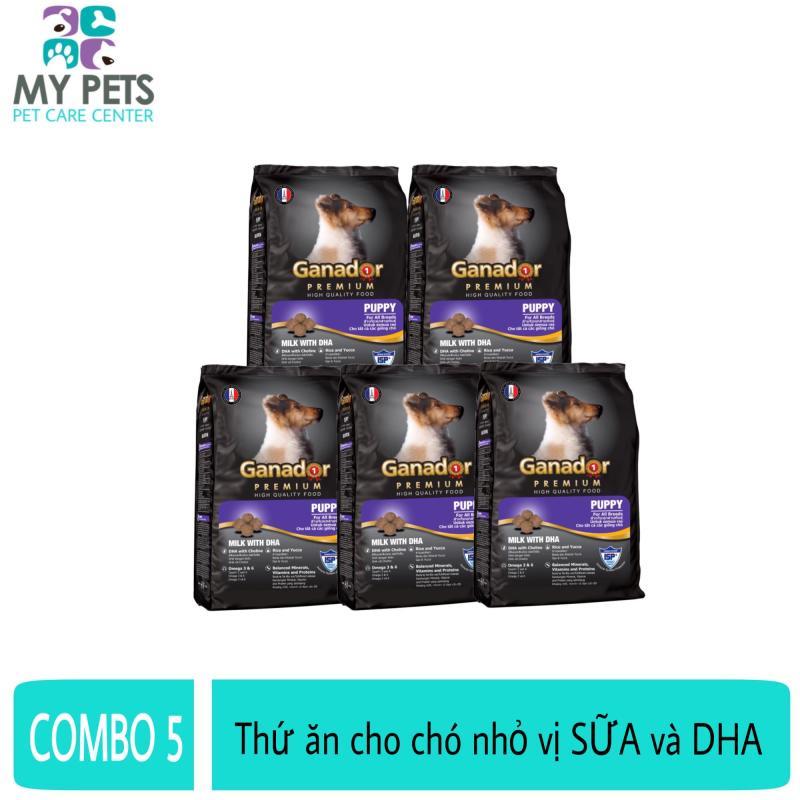 (COMBO 5 GÓI) Thức ăn cho chó nhỏ có sữa và DHA giúp chó con thông minh - Thức ăn cho chó Ganador Puppy 400g