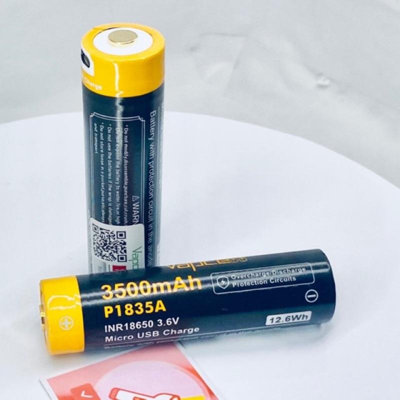 [P63] Pin  18650 VAPCELL P1835A 3500MAh có mạch bảo vệ tích hợp cổng sạc