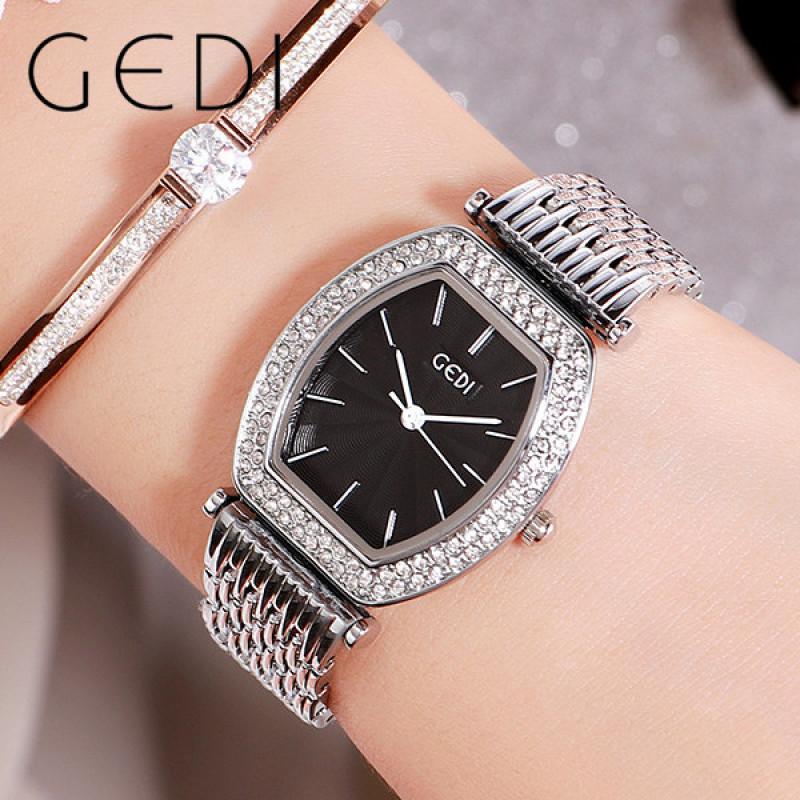 GEDI 11008 Đồng hồ đeo tay nữ hình kim cương tonneau hình thang đơn giản bằng thép không gỉ dây đeo đồng hồ thạch anh khí quyển chống nước và chống trầy xước với bảo hành