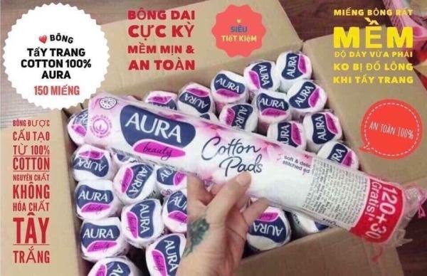 Bông tẩy trang Aura Cotton Pads 150 miếng cao cấp