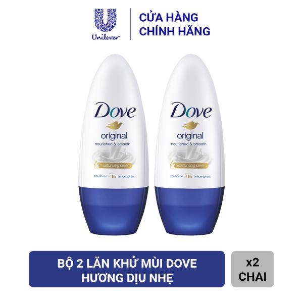 Combo 2 Lăn Khử Mùi Dove Original Nourished & Smooth Dưỡng Da Sáng Mịn Hương Dịu Nhẹ (40ml x 2) cao cấp