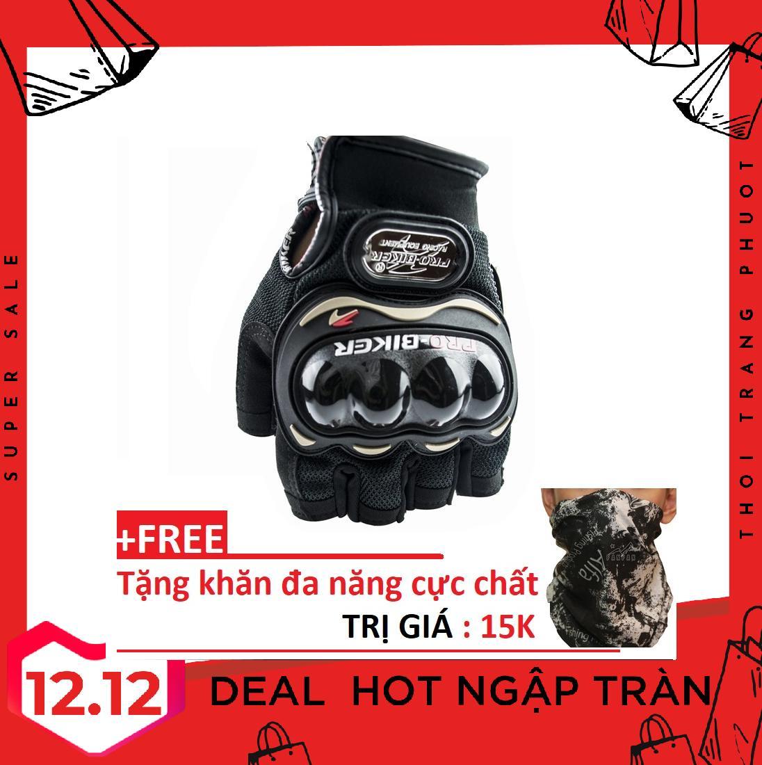 Găng Tay Pro-Biker Dành Cho Phượt Thủ, găng tay cụt ngón xe máy, găng tay nam, găng tay phượt + tặng kèm khăn đa năng trị giá 15k