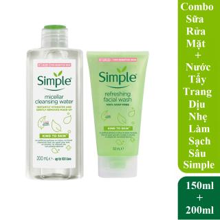 Combo Simple Nước Tẩy Trang Micellar Water 200ml + Sữa Rửa Mặt Refreshing 150ml Dịu Nhẹ Làm Sạch Sâu Cho Làn Da thumbnail