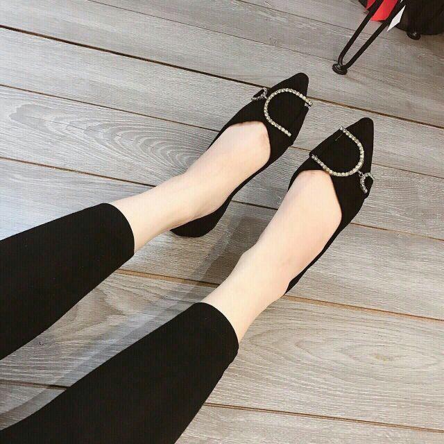 Giày búp bê khóa chữ D êm chân