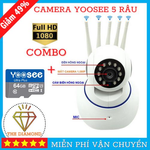 ( BẢO HÀNH 5 NĂM ) Camera Wifi Yoosee 5 râu, Camera Yoosee TRONG NHÀ-NGOÀI TRỜI SIÊU SẮC NÉT 2.0 Mpx Full HD 1920X1080p, Cảnh báo , quan sát ngày đêm, ghi âm, ghi hình, đàm thoại 2 chiều