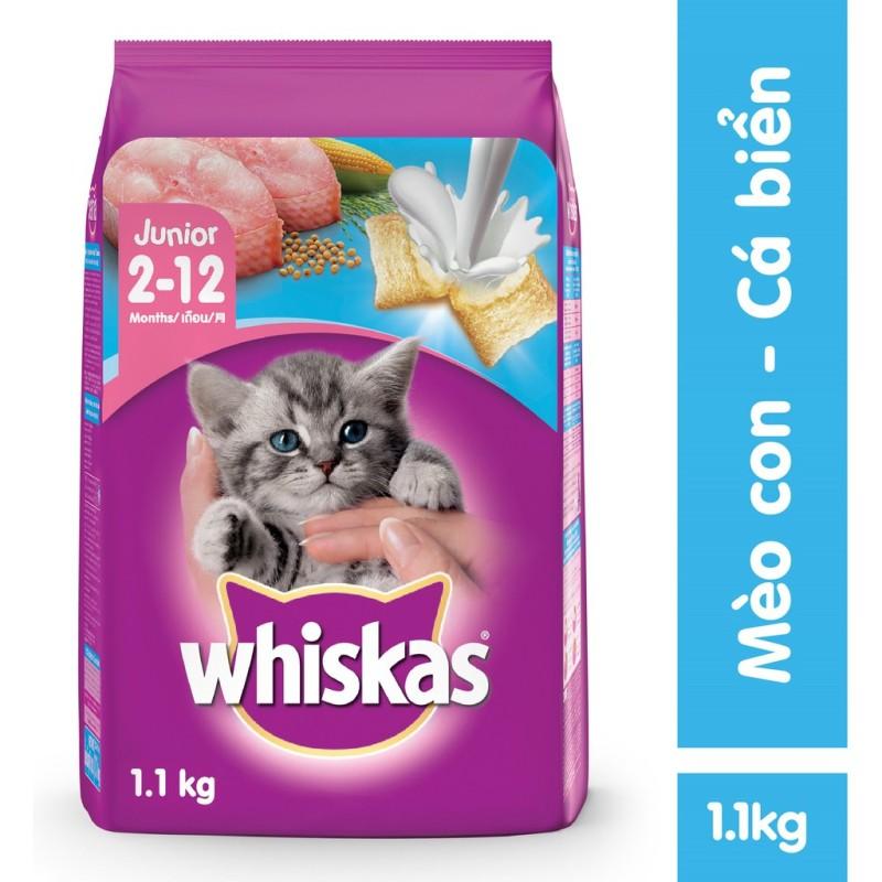 Thức ăn hạt cho mèo con Whiskas vị cá biển 1.1KG