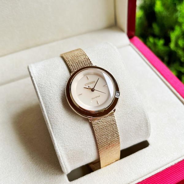Đồng hồ Nữ Citizen Eco Drive  L Ambilun EM0643-50X Vàng hồng,Size 32mm,Mặt trắng-Năng lượng ánh sáng-Dây kim loại