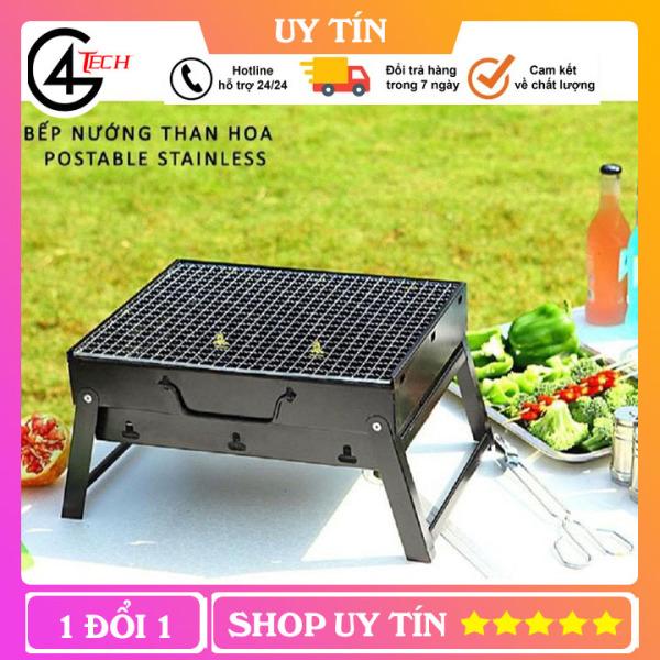 Bếp nướng than hình chữ nhật gấp gọn chuyên dùng cho dã ngoại du lịch ngoài trời lò nướng than hoa, than củi, than không khói TT4