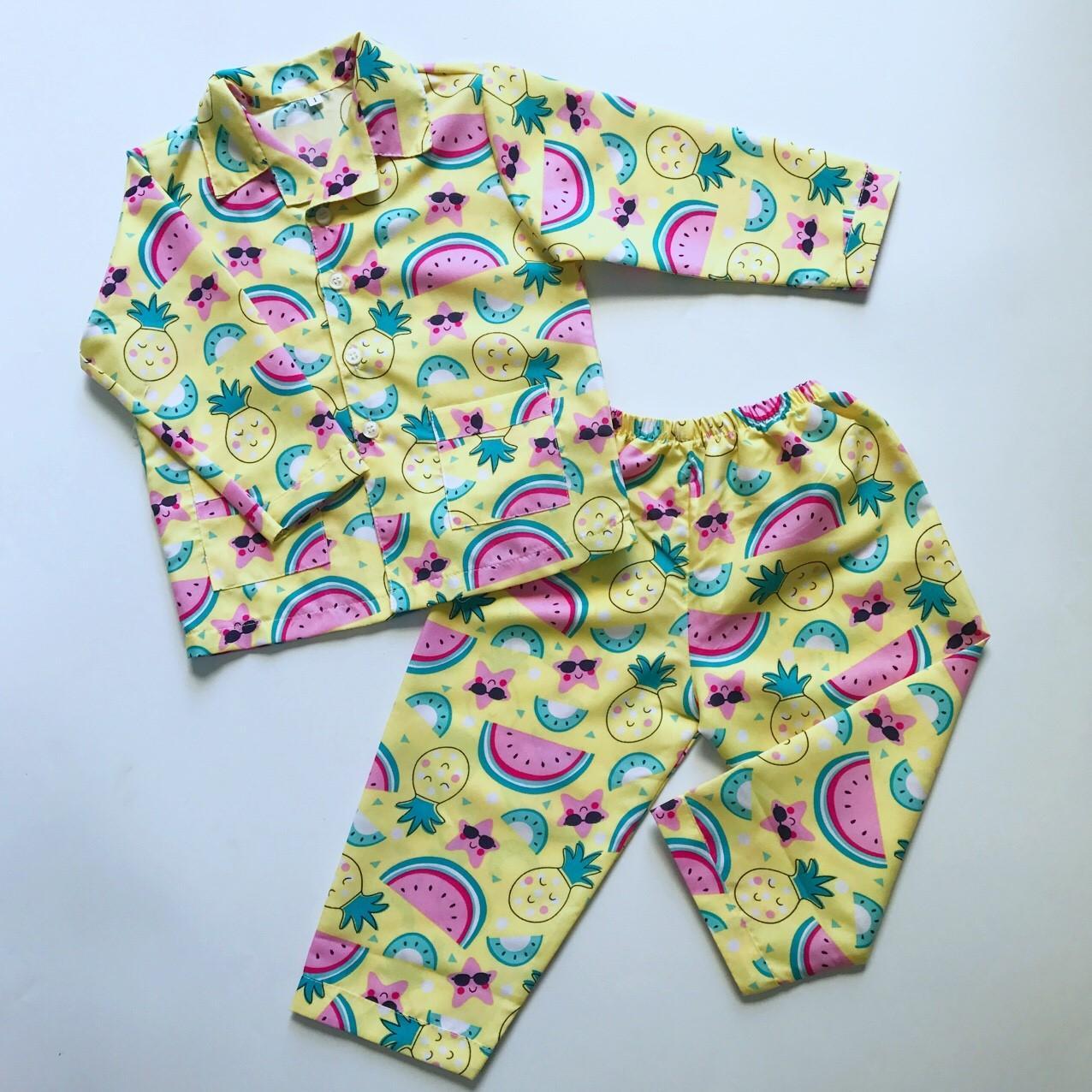 Pijama cho bé kate thái hình Hoa quả 10-40kg Nhật Bản